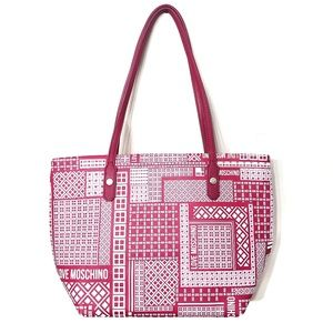 Love Moschino Pink & White Tiled Faux Leather Tote